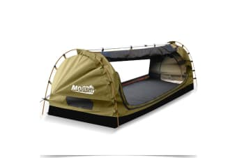 Mountview Camping Swags Canvas Free Standing Swag Dome Tents Kings Single Khaki  -  Khaki - King single