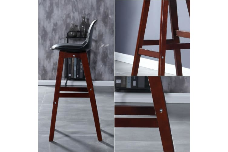 2x Beech Wood Bar Stools Wooden Barstool Dining Chairs Kitchen Counter BK/WH NEW