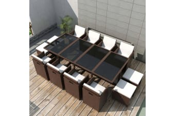 vidaXL 13 Piece Outdoor Dining Set with Cushions Poly Rattan Brown