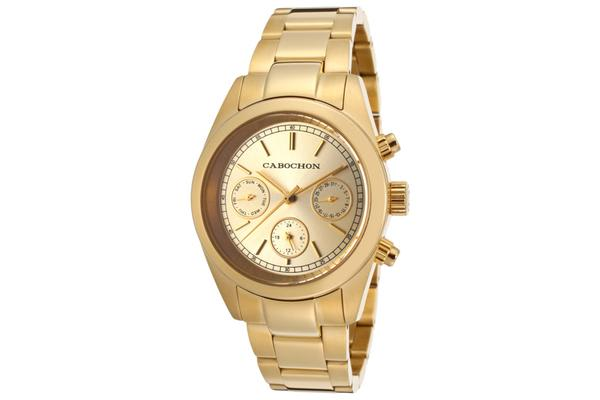 Cabochon Women's  De Ce Monde Multi-Function Gold Tone Dial Gold Tone Ion Plated Stainless Steel (CABOCHON-1112)
