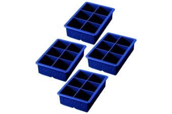 4PK Tovolo King Jumbo Ice Cube Silicone Tray BPA Free Dishwasher Safe Blue