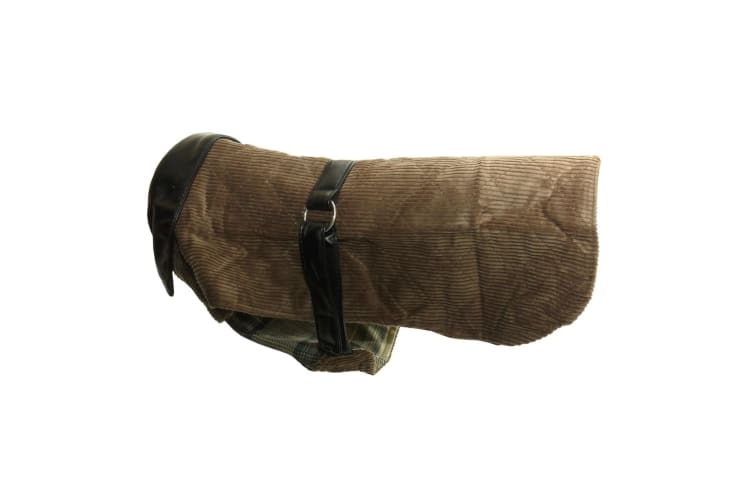 Vital Pet Products Corduroy And Leather Dog Coat (Brown) (20in)