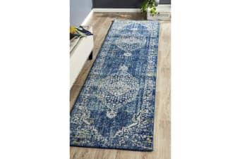 Hazel Navy & Yellow Durable Vintage Look Runner Rug