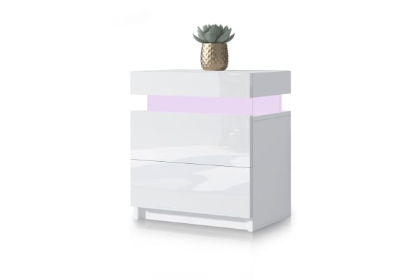 Modern Bedside Table 2 Drawers Side Nightstand Cabinet High Gloss Bedroom Furniture - White