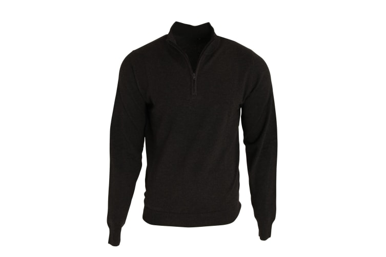 Premier Mens 1/4 Zip Neck Knitted Sweater (Black) (S)