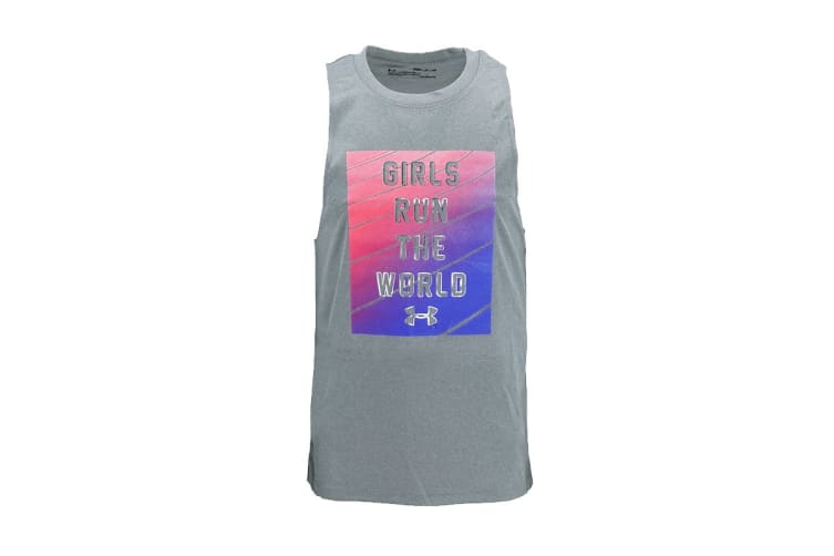 "Under Armour Girls' Sleeveless Shirt ""Girls Run The World"" (Light Grey/Pink/Blue, Size M)"