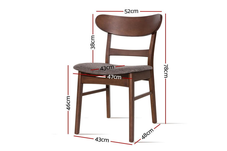 Artiss Dining Chairs Kitchen Chair Rubber Wood Retro Cafe Brown Fabric Padded x2