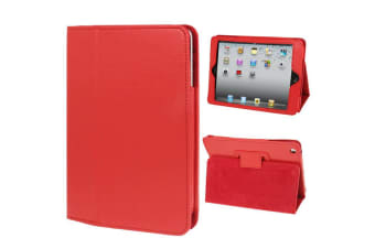 For iPad Mini 1 2 3 Case  Lychee Texture 2-fold Folio Leather Cover Red