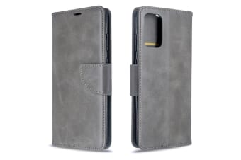 For Samsung Galaxy S20 Ultra Case  Retro PU Leather Wallet Cover with Stand & Lanyard  Grey