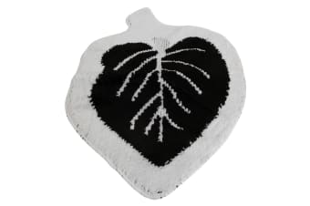 Eurobano Leaf Shape Bath Mat (Black/White) (60 x 90cm)