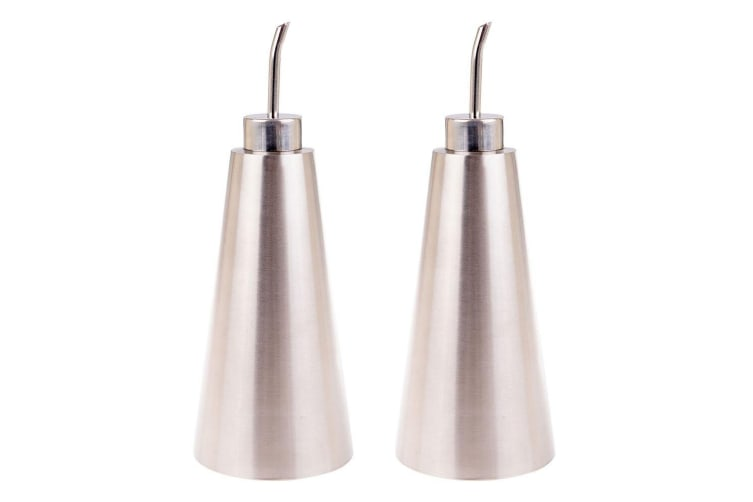 2x Appetito Stainless Steel Conical 0.5L Kitchen Oil Can Bottle Dispenser Pourer