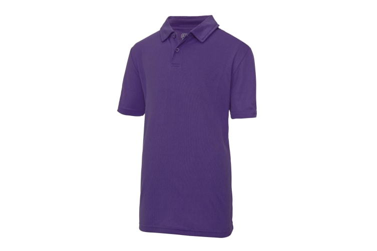 Just Cool Kids Unisex Sports Polo Plain Shirt (Pack of 2) (Purple) (5-6 Years)