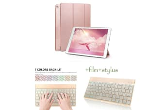 For iPad Pro 12.9 Inch 2018 7 Colors Backlit Keyboard + PU Leather Case Cover For iPad Pro-Rose Gold