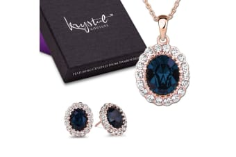 Gina Sapphire Pendant and Earrings Set Embellished with Swarovski crystals