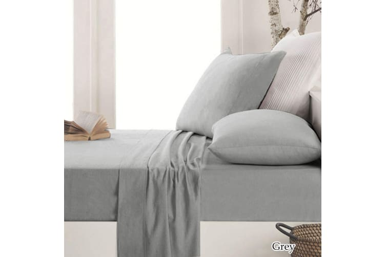 Easy-care Micro Flannel Sheet Set Grey Queen