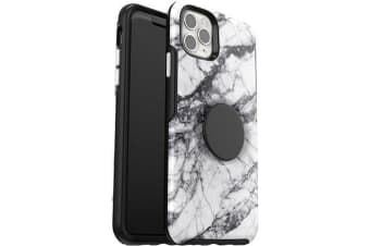 Otterbox iPhone 11 Pro Max Otter + Pop Symmetry Series Case PopSockets PopGrip 360 Degree Phone Protection Cover for Apple - White Marble