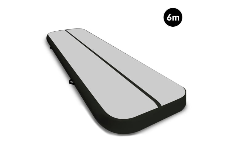 6m Airtrack Tumbling Mat Gymnastics Exercise 20cm Air Track Grey Black