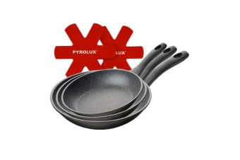 Pyrolux Pyrostone Frypan Set 3pc 20 26 & 30cm with Felt Protectors