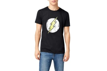 Flash Unisex Adults Distressed Logo Design T-Shirt (Black)