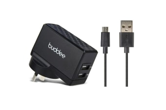 Buddee 3.1A Dual Port USB Wall Charger w/ 1m Micro-USB Charge/Sync Cable Black