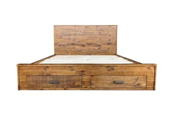 Cob&Co Queen Bed Frame With Drawers (Rustic Wood)