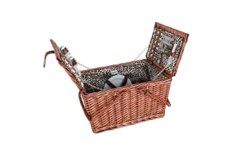 Avanti 4 Person Willow Handle Leopard Picnic Travel Basket Cutlery Shaker Plate