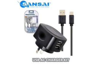 Sansai USB AC Charger with Type-C Cable for Smartphones Samsung HTC