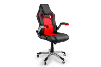 Overdrive 8 Point Massage Executive Office Computer Chair - Faux Leather Red