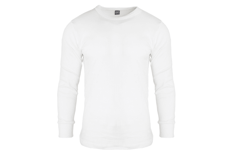 FLOSO Mens Thermal Underwear Long Sleeve T Shirt Top (Standard Range) (White) (Chest: 44-46ins (X-Large))