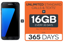 Samsung Galaxy S7 Edge (32GB, Black) + Kogan Mobile Prepaid Voucher Code: EXTRA LARGE (365 Days | 16GB Per 30 Days)