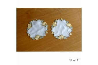 Set of 2 Embroidered Doilies Floral 11