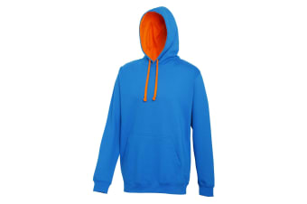 Awdis Varsity Hooded Sweatshirt / Hoodie (Sapphire Blue/Orange Crush)