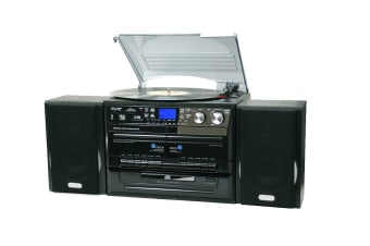 Lenoxx Home Entertainment System with CD/Turntable/Dual Cassette & Burns Digital Media (LNX-CD114BL)