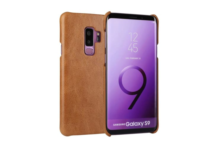 For Samsung Galaxy S9 Case Elegant Genuine Protective Leather Cover Brown