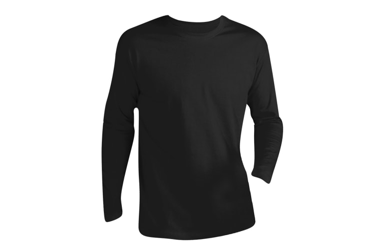 SOLS Mens Monarch Long Sleeve T-Shirt (Deep Black) (4XL)