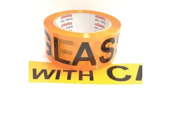 1x Glass Dispatch Tape Orange Black 48mm x 75mm Roll With Care Packing Label