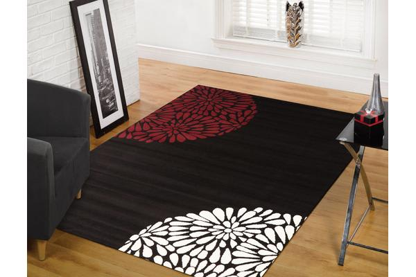 Burst Pattern Rug Red Black White 230x160cm