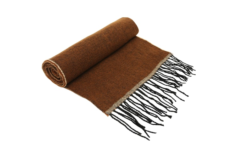 Asquith & Fox Unisex Two Tone Tassled Scarf (Brown) (One Size)