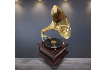 Reproduction Antique - Brass Gramophone Music Record Player