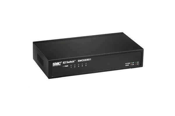 SMC 5Port Gigabit Unmanaged Switch  10/100/1000Mbps. Compact desktop case.