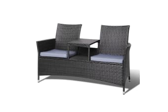 Patio Furniture Outdoor Bench Garden Setting Wicker Chair Table 2 Seat