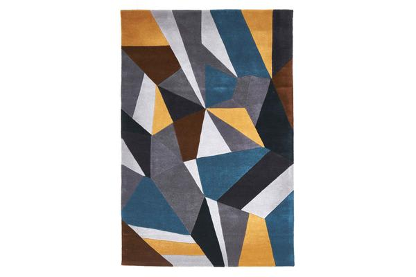 Laura Designer Wool Rug Blue Yellow Grey 280x190cm