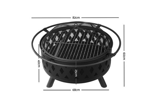 32 Inch Portable Outdoor Fire Pit and BBQ (Black)