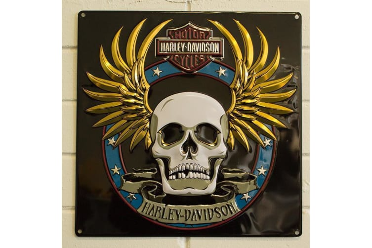 Harley Davidson Skull & Wings Embossed Tin Sign