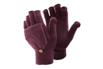 FLOSO Ladies/Womens Winter Capped Fingerless Magic Gloves (Maroon)