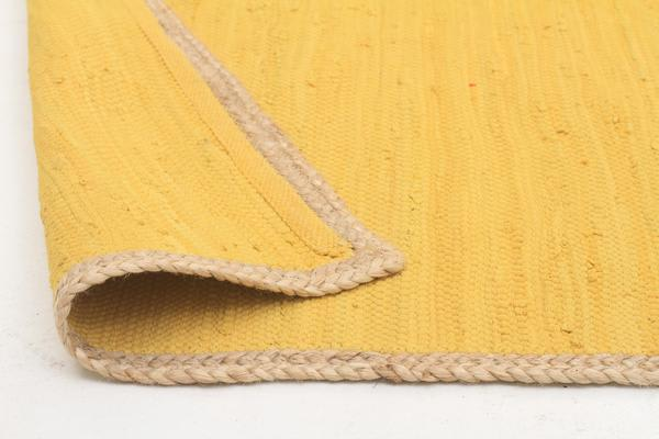Reno Cotton and Jute Rug Yellow 220x150cm