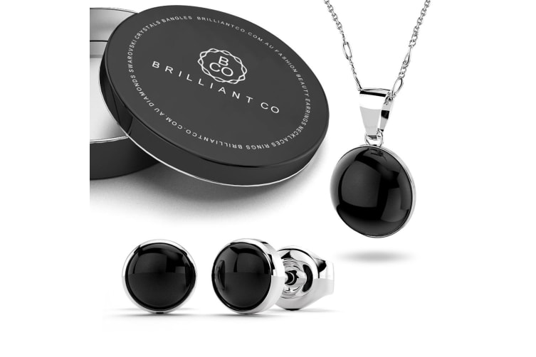 Boxed .925 Bezel Onyx Necklace and Earrings Set