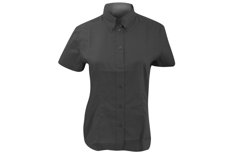 Kustom Kit Ladies Corporate Oxford Short Sleeve Shirt (Charcoal) (14)