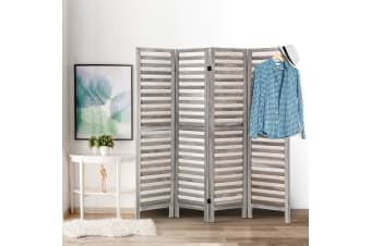 Artiss 4 Panel Room Divider Screen Privacy Wood Dividers Timber Stand Grey 170cm