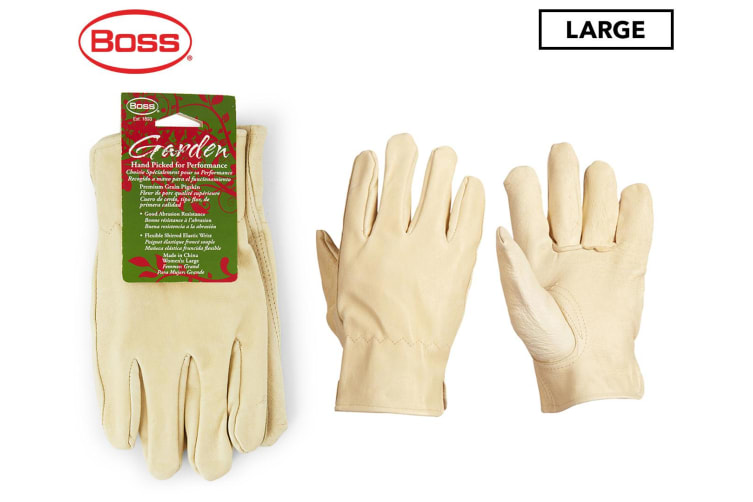 Boss Women's Large Leather Gardening Multipurpose Gloves W/ Shirred Wrist Cream